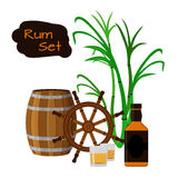 Rum, barrel, bottle, sugar cane, helm, shots in flat style. Rum set. Flat style design. Vector illustration. Sugar cane, shots, rum bottle and the wheel Royalty Free Stock Photos