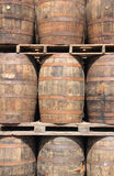 Rum Barrels. A stack of wooden rum barrels mature in a rum factory in the Carribean stock photography