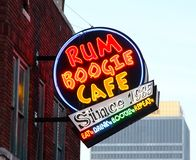 Rum-Boogie-Café-Straßenschild, Beale-Straße Memphis, Stockfoto