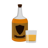 Rum bottle with glass, shot. Alcohol drink flat style design.  Royalty Free Stock Image