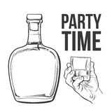 Rum bottle and hand holding full shot glass. Rum alcohol bottle and hand holding full shot glass, sketch style vector illustration isolated on white background royalty free illustration