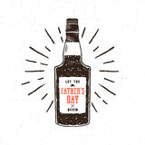 Rum bottle in retro style with sigh - let the fathers day begin. Funny vector concept for celebration Father s Day 2017. On textured white background Stock Photos