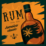 Rum bottle with swords on compass and anchor royalty free illustration