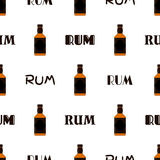 Rum bottles pattern. Whiskey, brandy, liquor, rum for pubs, restaurants Royalty Free Stock Photo