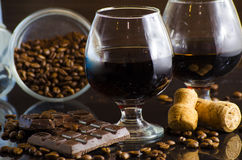 Rum and chocolate Stock Images
