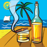 Rum and cigar. Rum with cigar on the sea background stock illustration