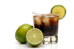 Rum and coke. With limes for garnish royalty free stock image
