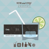 Rum and cola  cocktail flat style  illustration Royalty Free Stock Images