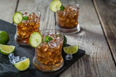 Rum and cola cocktail in glasses Royalty Free Stock Images