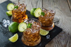 Rum and cola cocktail in glasses Royalty Free Stock Photo