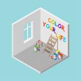 rum 3D med stegen, målarfärghinkar, målarpensel och färgar dig färgrik text för liv på väggen Isometrisk vektorillustration Arkivbild