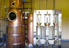 Rum distillery. Manufacturing  of rum on Mauritius island Stock Photo