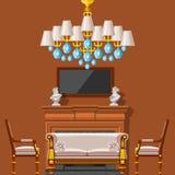 Rum för hus för inre möblemang för storgubbetappning rikt förmöget med illustrationen för vektor för bakgrund för vägg för soffau Royaltyfria Bilder