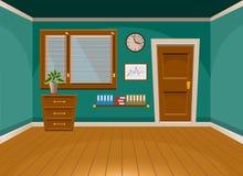 Rum för kontor för plan vektor för tecknad film inre i turkosstil vektor illustrationer