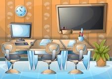 Rum för kontor för tecknad filmvektorillustration inre med avskilda lager stock illustrationer