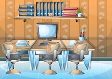 Rum för kontor för tecknad filmvektorillustration inre med avskilda lager vektor illustrationer