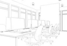 Rum för kontor för inredesign stort med den beställnings- teckningen för skrivbord Arkivbild