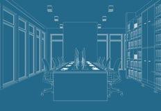 Rum för kontor för inredesign stort med den beställnings- teckningen för skrivbord Royaltyfri Fotografi