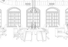Rum för kontor för inredesign stort med den beställnings- teckningen för skrivbord Royaltyfria Foton