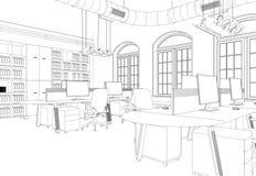 Rum för kontor för inredesign stort med den beställnings- teckningen för skrivbord Arkivfoto