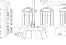Rum för kontor för inredesign stort med den beställnings- teckningen för skrivbord Royaltyfri Bild