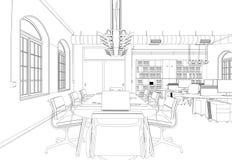 Rum för kontor för inredesign stort med den beställnings- teckningen för skrivbord Royaltyfri Foto