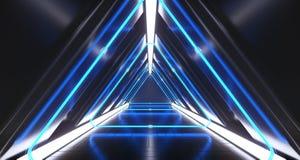 Rum för korridor för mörk futuristisk triangelscience fiction tomt med neon Li stock illustrationer