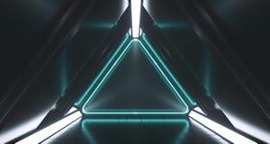 Rum för korridor för mörk futuristisk triangelscience fiction tomt med neon Li royaltyfri illustrationer