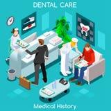 Rum för medicinsk historia för tandläkare tålmodigt väntande för medicinskt besök vektor illustrationer