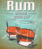 Rum in glasses on grunge background. Retro style.Vintage poster Stock Photo