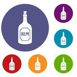 Rum icons set. In flat circle red, blue and green color for web Stock Photography