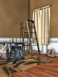 Rum med ett fönster som täckas för att måla Arkivfoton