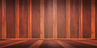 Rum med ett trägolv och tegelstenväggar för produktskärmmontage, kan användas för montage eller visa dina produkter arkivbilder