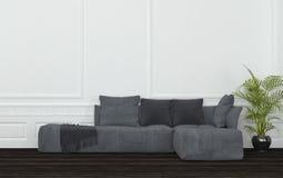 Rum med Grey Sectional Sofa och den lade in växten Royaltyfria Bilder