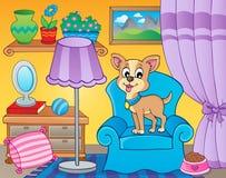 Rum med hunden på fåtöljen Royaltyfri Foto