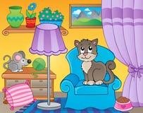 Rum med katten på fåtöljen Arkivfoton