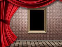 Rum med röda gardiner och ramen Royaltyfri Foto