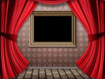 Rum med röda gardiner och ramen Royaltyfri Bild