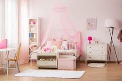 Rum med rosa garneringar royaltyfri fotografi