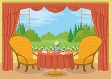 Rum med sikt av skoggläntan Royaltyfri Bild