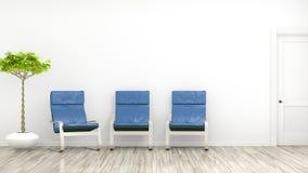 Rum med tre blåa stolar vektor illustrationer