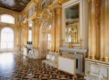 Rum på den Tsarskoye Selo Pushkin slotten Arkivfoton