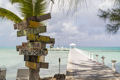 Rum Point Signpost Stock Photos