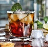 Rum refreshment alcoholic drink. Rum whiskey refreshment alcoholic drink wooden background stock photos