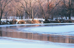 Rum River Winter Perspective - Minnesota Stock Photos