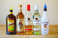 Rum Selection at Liquor Bar Royalty Free Stock Images