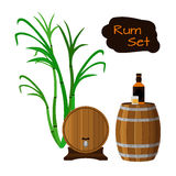 Rum set. Sugar cane, helm, barrels, glass, bottle of rum. Rum set. Sugar cane, helm, barrels, glass, bottle of rum Flat vector style Royalty Free Stock Photos