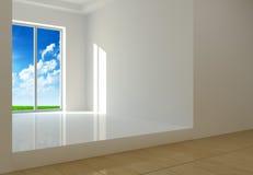 Rum med ett stort fönster Arkivbild