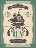 Rum. Vintage label at pirate theme. For bottle of rum, vintage retro label, vector illustration Royalty Free Stock Photos