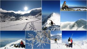 Rumania, collage de la montaña en invierno Foto de archivo